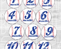 Printable Baseball Baby Onesie Monthly/Milestone Circle Cut Outs/Stickers/Iron-ons - Boy or Girl - Red and Blue - INSTANT DOWNLOAD