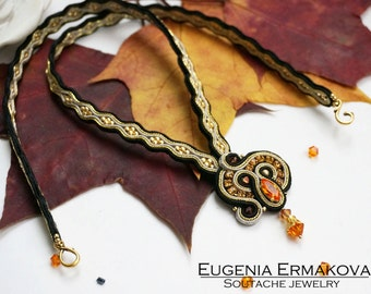 Soutache pendant with Swarovski Soutache necklace Soutache jewelry Small pendant soutache Black gold grey tangerine orange soutache pendant