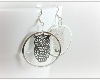 earrings in sterling silver, watermark owls animals
