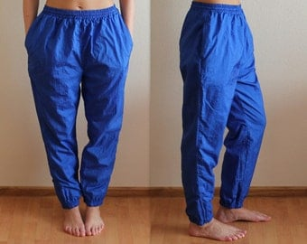 Royal Blue Women's Track Pants Vintage 80s Windbreaker Pants Running Trousers Sporty Athletic Gym Workout Activewear Elastic Waist Large