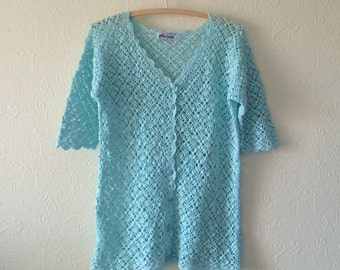 Mint Blue Crocheted Cardigan Bohemian Romantic Summer Crochet Jacket Short Sleeve Medium Size