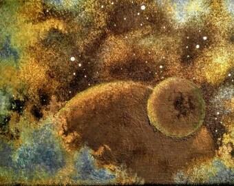 Mixed media Nebula on 7x14 canvas