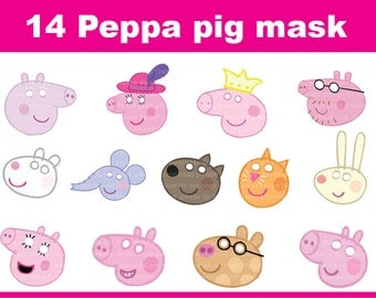 Instand DL - Peppa pig  Printable masks-  14  masks photo booth props (NON Personalized)