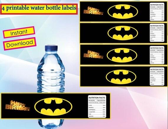 INSTANT DOWNLOAD Batman water bottle Labels water bottle