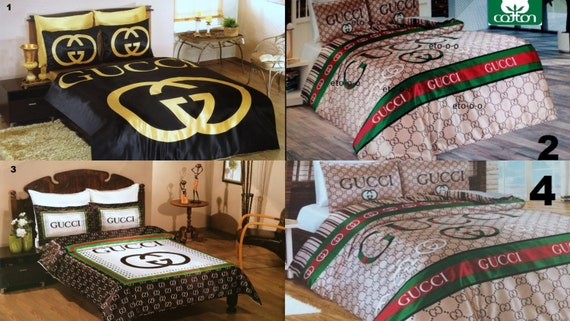 Handmade Gucci Bedding Set Queen Size Satin By