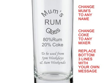 Etsy Personalised Save Water Drink Rum Glass