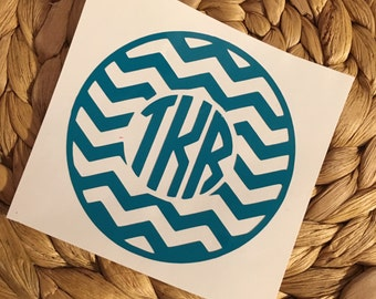 Chevron Monogram Vinyl Decal