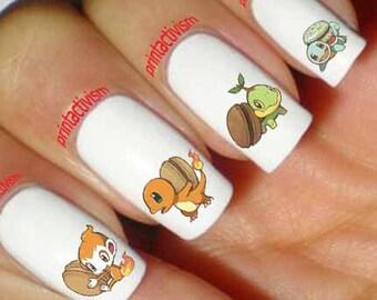 Anime nails etsy 60 pokemon macaroon anime japan waterslide or peel apply nail art decal image prinsesfo Choice Image