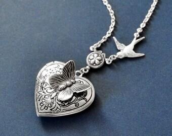 Butterfly Locket, Silver Locket, Silver Heart Locket, Silver Filigree Locket Necklace, Bird Necklace, Vintage Locket Necklace