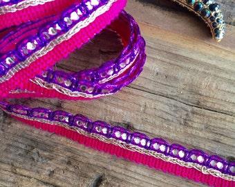 Purple, Pink and Gold Sari Trim