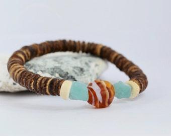 Womens Coconut Bracelet Coconut Jewelry Beach Bracelet Summer Bracelet Beach Jewelry Aquamarine Bracelet Lampwork Bracelet March Birthstone
