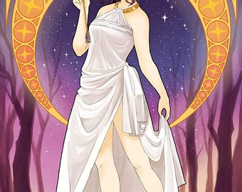 Artemis Greek Goddess | greek mythology, art nouveau poster, art nouveau print, mucha, mythology, anime print, anime poster, manga poster