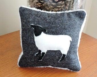 Tweed & Faux Sheepskin Pillow, Cushion with Wool Blend Felt Applique