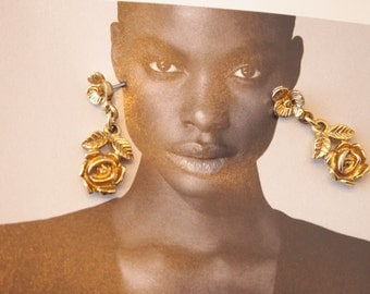 Vintage gold rose drop earrings