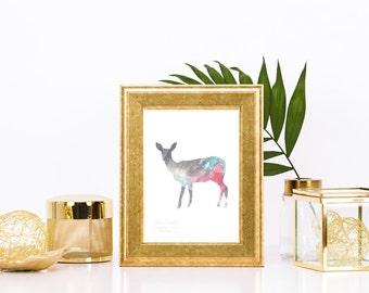 Dignified Watercolor Deer Print