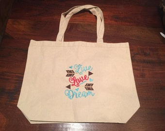 Live Love Dream Machine Embroidered Tote Bag