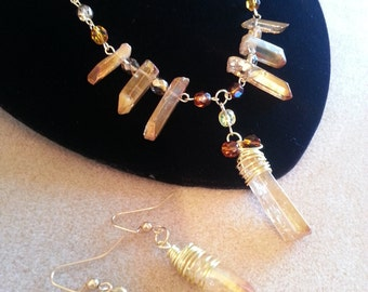 Gold tone crystal glass cluster necklace and earings