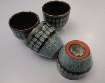 Retro blue stonewear egg cups
