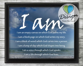 I am, Beach Photograph, Inspirational Quote, Digital Download, Printable Wall Art