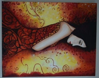 Oil Painting: Lady in Red