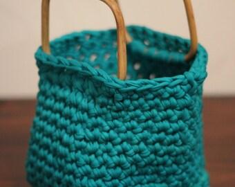 Handmade Crocheted Hoopla Yarn turquoise Blue Handbag with Wooden Handles