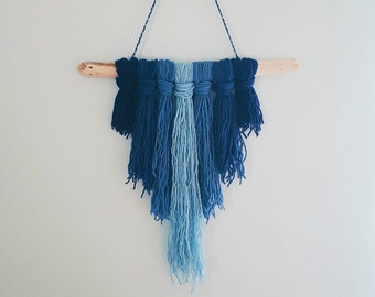 Ombre Blue Yarn Driftwood Wall Hanging - turquoise navy - wall decor - boho decor