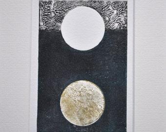 Original print seaside pattern collagraph 'Postcard no.10', grey, sand, turqoise abstract print