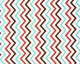 """Coral - Mini Chic Chevron - end of bolt 25"""" - Michael Miller - Cotton Fabric - Quilting Fabric"""
