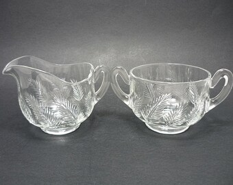 Etched Leaves Cream and Sugar Set, Cream and Sugar, Sugar Bowl, Vintage Glassware, Cream and Sugar Set, Serving Set