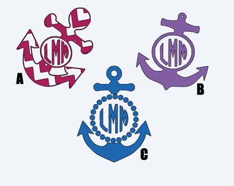 Anchor Monogram Car Decals (3 Style options)