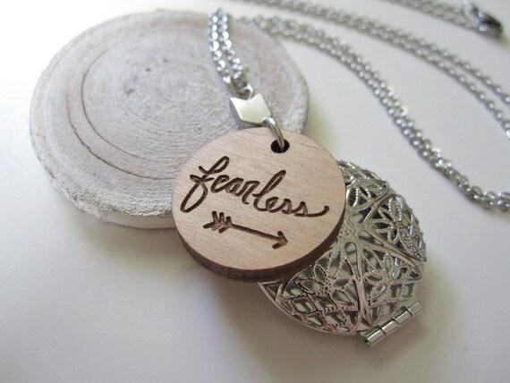 "Diffuser Locket // Stainless Steel + Wood / 24"" Necklace / Hematite Arrow / Engraved  Pendant / Hand Lettered / Minimalist"