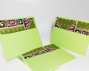 Purple and Green Blank Cards with Envelopes // Gold and Green Greeting Cards // African Print Blank Greeting Cards with Envelopes