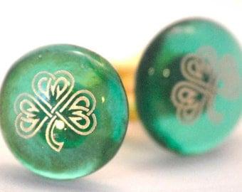Glass Irish Cufflinks