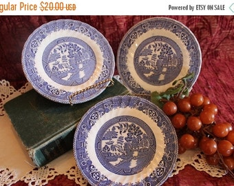 """End Of Summer SALE Set of 3 Myott Meakin 7"""" Bread Plates - Blue Willow, Made in England, Blue Transfer"""
