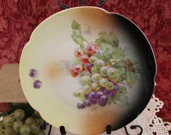 """Antique Hand Painted Porcelain 8.25"""" Luncheon Plate - Western Germany, Grapes of Green, Purple, and Red"""