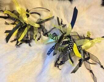 Pair of Yellow and Black Hair Bows, Black and Yellow Ponytail Holders, Hair Bows for Sale, Hair Bows for Girls, Pittsburg Steelers Penguins