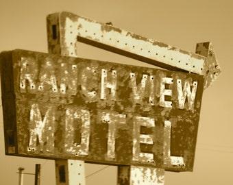 Sepia Retro Route 66 Motel Sign