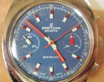 Rare Breitling Geneve Sprint Chrono Stainless Steel Valjoux 7733 Movt Watch Professionally Serviced with 6 months Warranty 6mth