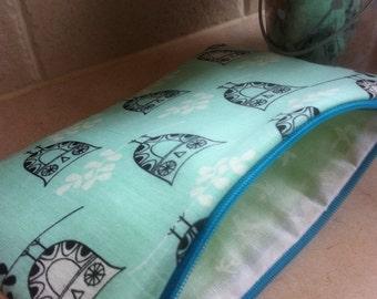 Turquoise Owls Zipper Pouch