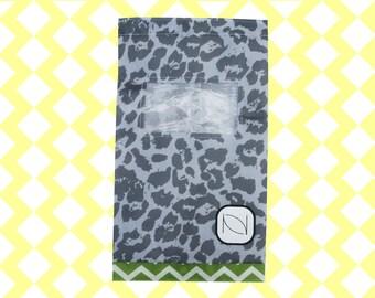 Two (2) See Through Shoe Bag with Drawstring - Gray Cheetah Print