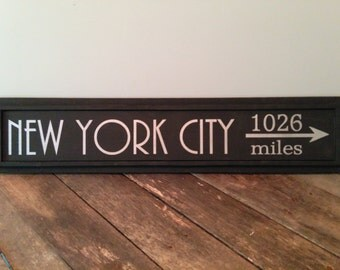 Custom MILEAGE Sign - DIRECTIONAL Sign - DESTINATION Sign - Hand Painted - Personalized Location Sign - Arrow - City - Town - Vacation Spot