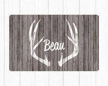 Antlers on Wood, CHOICE OF COLOR, Water and Food Pet Mat - Gift for Dog,Gift for Cat, Dog Gift - Floor Mat for Pet - Food and Water Placemat