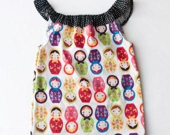 Girls Ruffle Neck Dress
