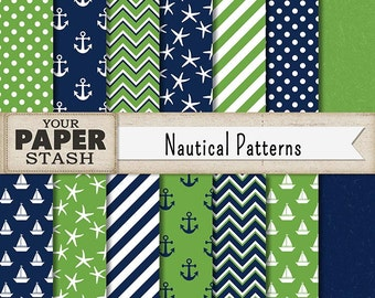 Nautical Digital Scrapbook Paper, Navy Blue & Kelly Green, Anchors, Starfish, Stripe, Chevron, Polka Dot, Commercial Use, Baby Shower