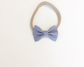 Mini Leather Bow - Baby Bow - Leather Bow - Lilac