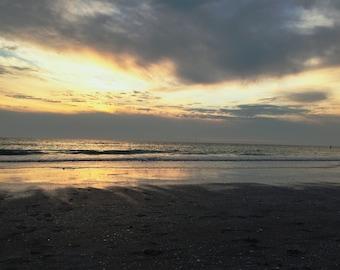 Cloudy Beach Sunset