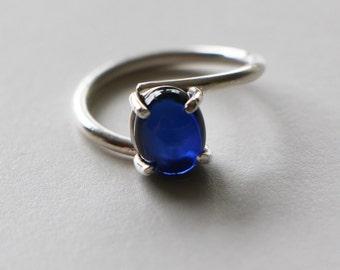 Asymmetrical Handmade Sapphire Ring 10mm x 8mm