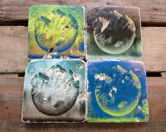 CLEARNACE Stone Tile Coasters, Space Coasters, Mountain Coasters, Retro Coasters, World Coasters, Coaster Art, FREE SHIPPING Coasters