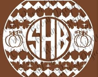 Fall Monogram Circle SVG Design