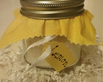 Lemon Essential Oil Bath Salts in a mason jar